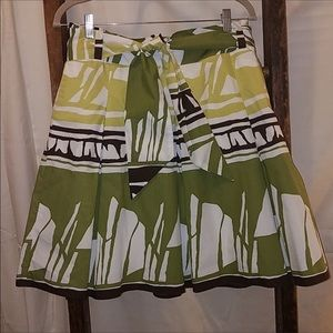 Talbots Aztec Jungle Print Pleated Full Skirt